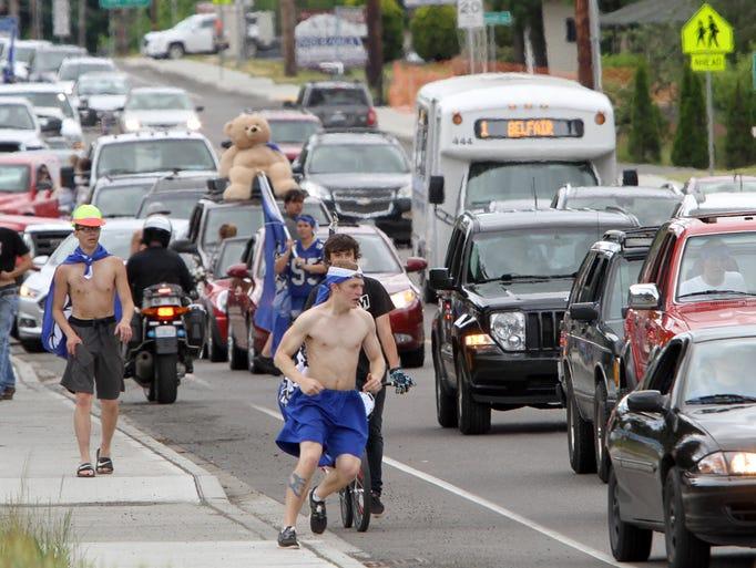 North Mason High School's graduating seniors paraded