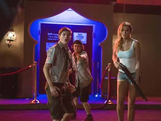 """Sarah Dumont and Tye Sheridan in """"Scouts Guide to the Zombie Apocalypse."""" (Jaimie Trueblood/Paramount Pictures/TNS)"""