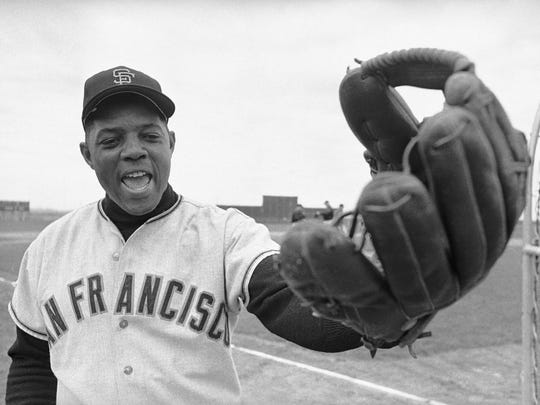 FILE - In this March 2, 1964, file photo, San Francisco Giants' Willie Mays is all set for workout at the baseball club's training camp at Casa Grande, Ariz. Baseball announced on Friday, Sept. 29, 2017, they have named its World Series Most Valuable Player award after Mays. (AP Photo/RDS)