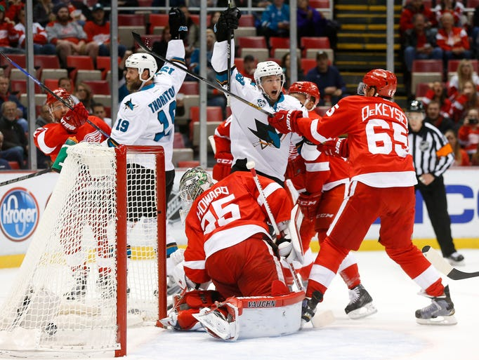 San Jose Sharks right wing Melker Karlsson (68) celebrates
