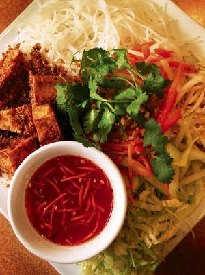The Pho Chay at Saigon Taste Vietnamese Cuisine, 6940 N. Mesa, features rice noodles with tofu, mushrooms and mixed vegetables.