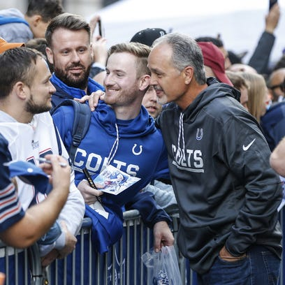 Indianapolis Colts head coach Chuck Pagano poses with