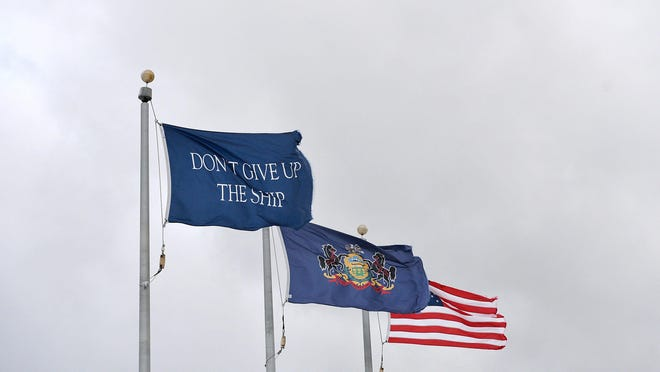 """On June 1, 1813, the mortally wounded commander of the USS Chesapeake, Capt. James Lawrence, gave the order, """"Don't give up the ship"""" during a losing battle with the British frigate HMS Shannon in the War of 1812. Oliver Hazard Perry later adopted his friend's words as his personal battle flag."""