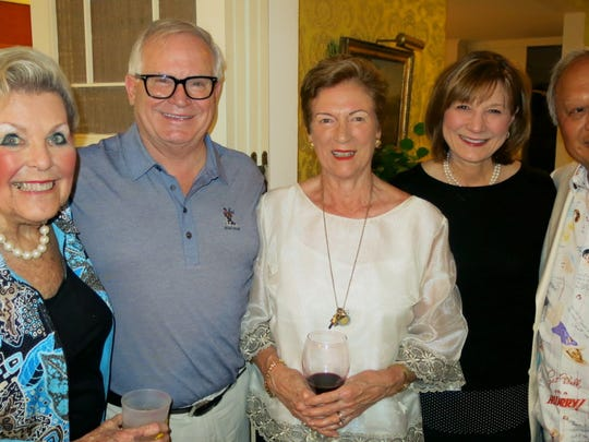 Hostess Ruth Atkins and guests at her dinner party: Dr. Larry Allen, honoree Helen Swain,  of Queensland, Australia, Lori Allen, Dr. Simeon Wall