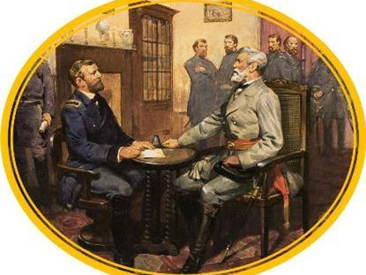 National Park Service image of Lee and Grant inside of the McLean parlor at Appomattox Courthouse, Virginia, on April 9, 1865.