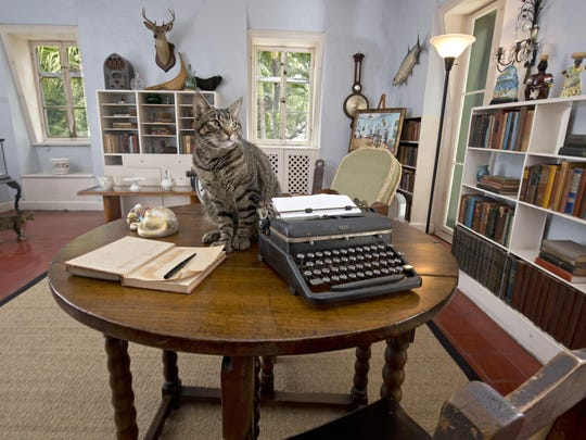 Ernest Hemingway's writing table in his studio at the Ernest Hemingway Home & Museum in Key West, Fla.