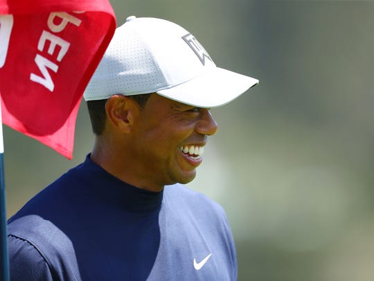 Jun 10, 2019; Pebble Beach, CA, USA; Tiger Woods during a practice round of the 2019 U.S. Open golf tournament at Pebble Beach Golf Links. Mandatory Credit: Rob Schumacher-USA TODAY Sports