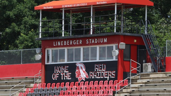 The press box at Lineberger Stadium at South Point High School in Belmont Thursday afternoon, June 25, 2020.