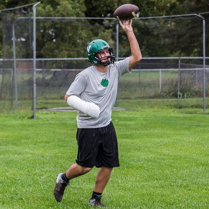 Yorktown's Brody Mariotti practices with teammates