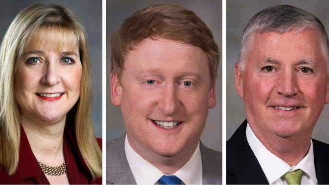 New Hampshire state Sens. Donna Soucy, Dan Feltes and Kevin Cavanaugh.