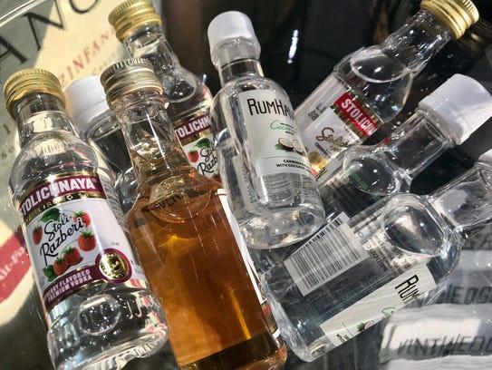 Travel-sized liquor bottles.