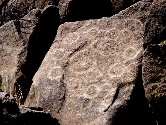 These petroglyphs are preserved in rocks on the Agua
