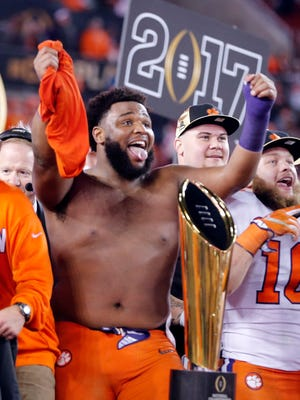 Clemson defensive lineman Christian Wilkins also ripped off his shirt after the Tigers won the 2017 national championship game over Alabama.