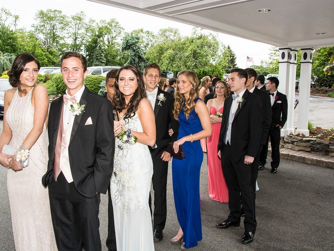 Students wait to enter at the Montville High school Prom at Mayfair Farms in West Orange, May 29, 2014.  Photo by Warren Westura for the Daily Record.