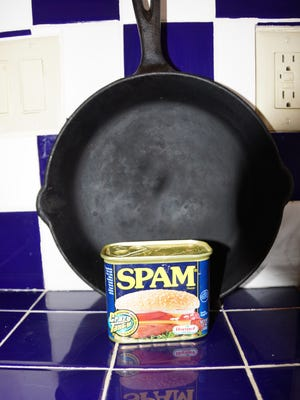 Spam, along with other canned and processed foods of questionable origin, is a staple for the bachelor cowboy.