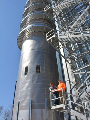 The new drying tower at the Rio Creek Feed Mill's Luxemburg facility is a landmark on the landscape.