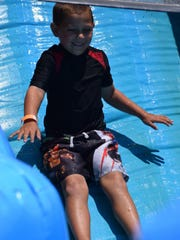 Craig English, 6, of Pittsgrove soars down the steepest
