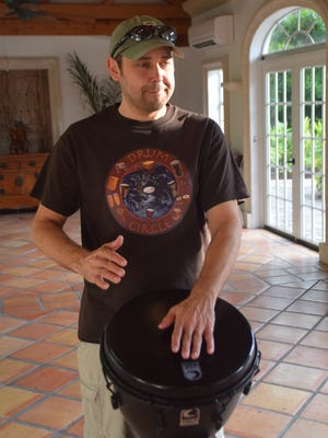 Marc Wagner teaches the weekly hand drumming class at the Shangri-La.