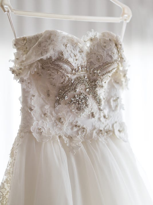 Wedding dress with beads