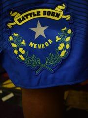 The Battle Born logo on Nevada's shorts.