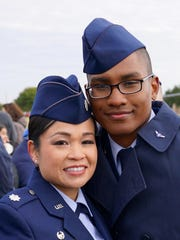 Lt. Col. Bonnie Stevenson, 49th Medical Operations Squadron commander, poses with her son, Airman Darrius Stevenson. Airman Stevenson graduated from Air Force Basic Military Training at Lackland Air Force Base on Dec. 9, 2016. Airman Stevenson is currently receiving his Cyber Space Operation training at Keesler Air Force Base.