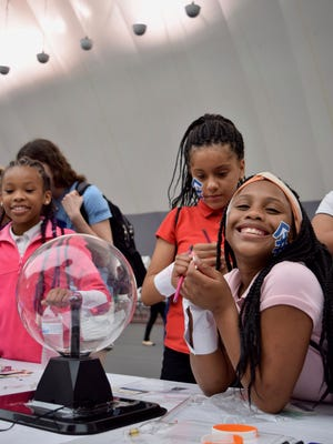 Middle school aged girls attend the Ignite Your Superpower event held at the University of Indianapolis on Thursday, August 17, 2017. The event is geared toward middle school aged girls engaged in STEM and thinking about STEM careers. Photo by John Sims