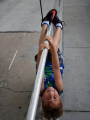 Liam Drake, 8, found his own way to have fun at the