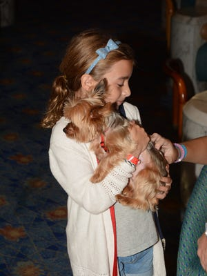 A young family member of a Royal Caribbean employee holds onto a dog brought along on the line's Enchantment of the Seas when it sailed out of Miami to avoid Hurricane Irma.