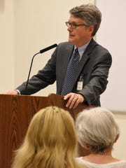 Robert Boston, director of communications at Americans United for Separation of Church and State, spoke at a fall forum about the war on church-state separation at the Unitarian Universalist Congregation of Greater Naples on Dec. 6, 2017.