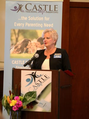 Executive Director Theresa Garbarino-May shares the importance of CASTLE with the audience at the  annual Giving Society Breakfast on Feb. 20 at Tradition Town Hall.