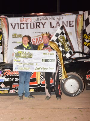 Bonduel's A.J. Diemel, shown in victory lane with promoter Jason Schulz after his Dirt Kings series win at Shawano Speedway in May, will return to his home track to race with the World of Outlaw late models on Tuesday.