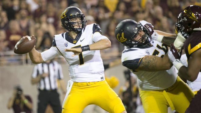 Cal quarterback Davis Webb passes against ASU during the first quarter of the college football game at Sun Devil Stadium in Tempe on Saturday, September 24, 2016.