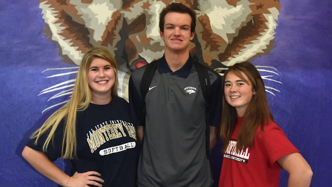 Spainsh Springs students, left to right, Hayley Fein signed with California State Monterey, for softball, Ryan Anderson signed with Nevada for baseball, and Bailey Ivory signed with Caldwell University in New Jersey for softball.