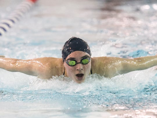 Courtney Harnish's top-seeded time in the 100 butterfly