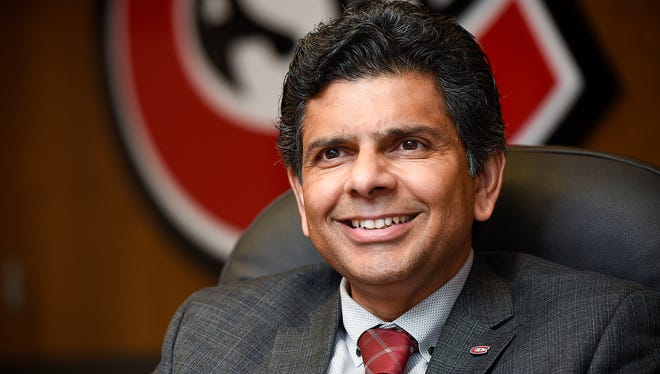 St. Cloud State University Interim President Ashish Vaidya talks Wednesday, March 22. about the the school's budget.