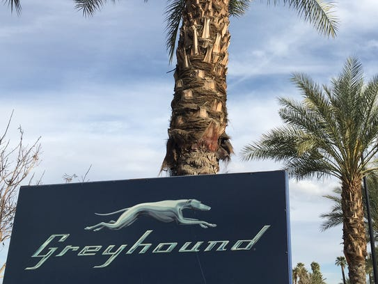 The Greyhound bus station in Indio, California photographed