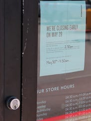 A sign on the Starbucks at South 14th and Barrow streets