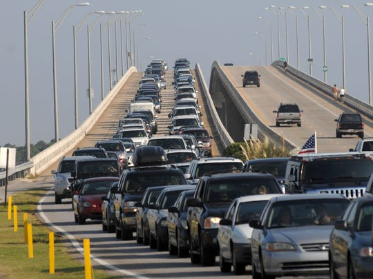 Traffic backs up on the Bob Sikes Bridge in this file photo.