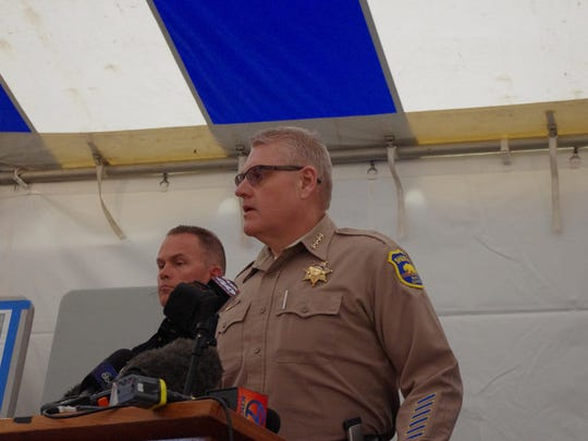 During a news conference at Oroville Dam on Wednesday, Butte County Sheriff Kory Honea encouraged people not to fly drones in the area of the dam because they would interfere with helicopters ferrying boulders used to repair the emergency spillway.