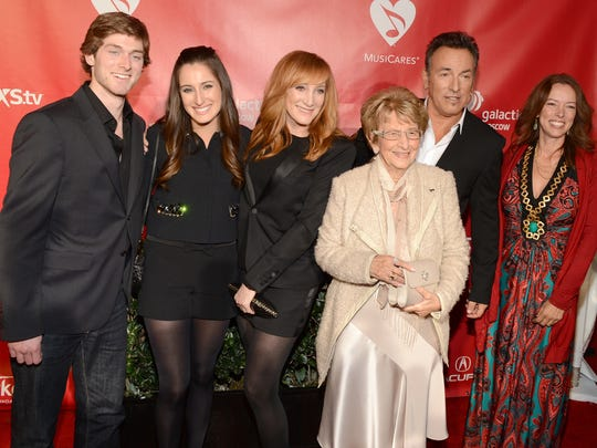 This 2013 image shows an unidentified man with Jessica Rae Springsteen, Patti Scialfa, Adele Springsteen, Bruce Springsteen and Pamela Springsteen at MusiCares Person Of The Year Honoring Bruce Springsteen at Los Angeles Convention Center.
