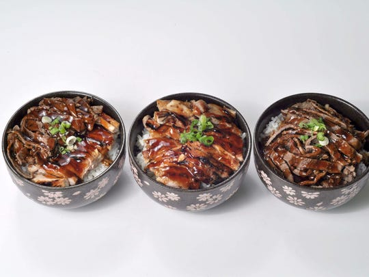 A selection of teriyaki bowls from Yogis Grill.