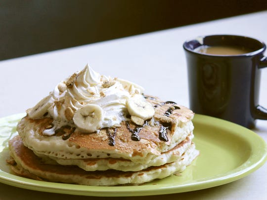 The banana chocolate crunch pancakes at The Place.