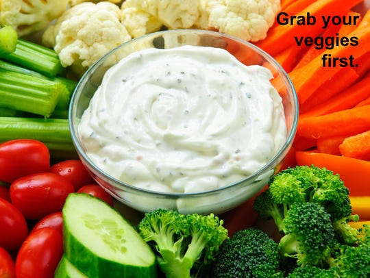 Fill your plate first with low-fat vegetables, then