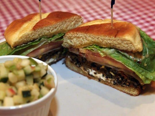 The black bean burger at Hilltop Tavern in Louisville,
