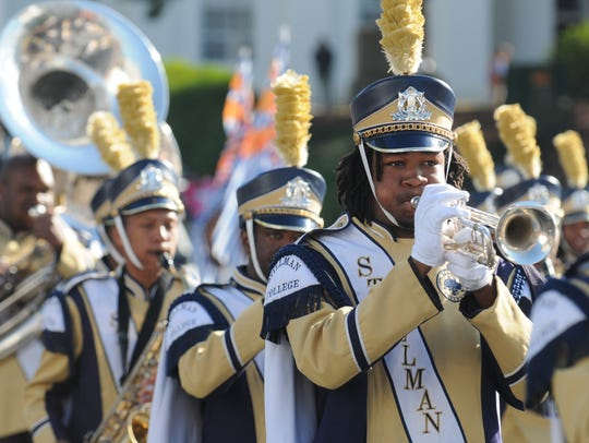 The Stillman Marching Band perform in the Turkey Day