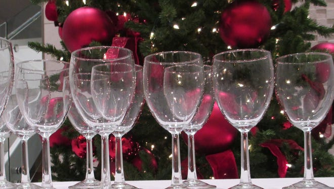 Wine glasses wait to be used at Wine Around The World.