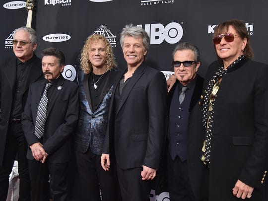 From left: Hugh McDonald, Phil X, David Bryan, John Bon Jovi, Tico Torres and Richie Sambora of Bon Jovi attend the 33rd Annual Rock & Roll Hall of Fame Induction Ceremony at Public Auditorium on April 14, 2018 in Cleveland, Ohio.