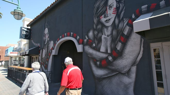"""The mural entitled """"The Mountain Chamers"""" on the facade of Bar will be up for an approval vote by the City of Palm Architectural Advisory Committee."""