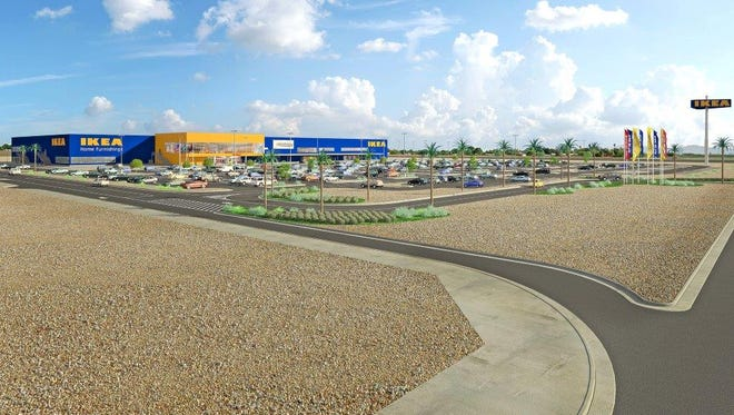 A rendering of the proposed Glendale IKEA location.
