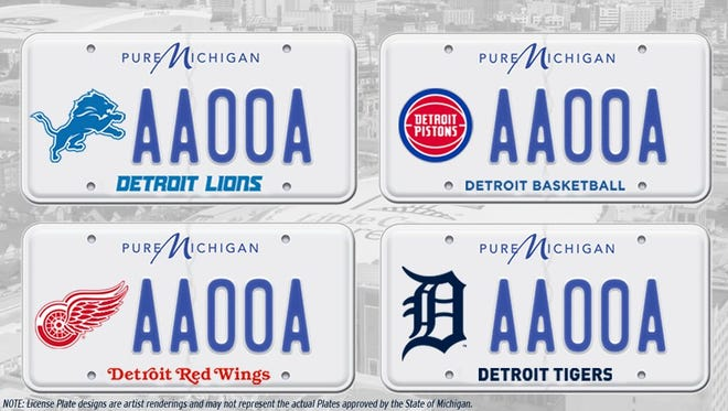 These proposed Michigan license plates featuring logos of all four pro sports teams are awaiting a House vote.